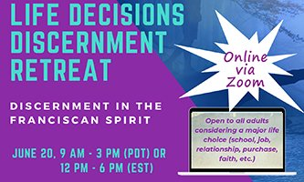 test Twitter Media - Join us for Life Decisions Discernment Retreat: Discernment in the Franciscan Spirit, online via zoom.  June 20.  Click here for more details:  https://t.co/qWxAep2U20. #retreat #Franciscan https://t.co/AuYrThScqt