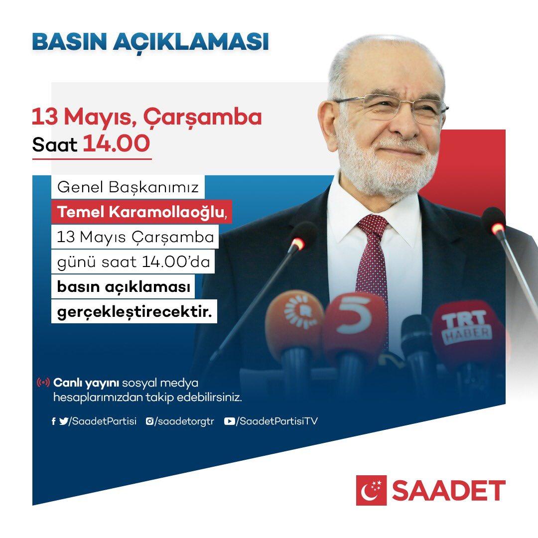 Genel Başkanımız Temel Karamollaoğlu, YARIN 14.00'da basın açıklaması gerçekleştirecektir. https://t.co/8u09udy5vW