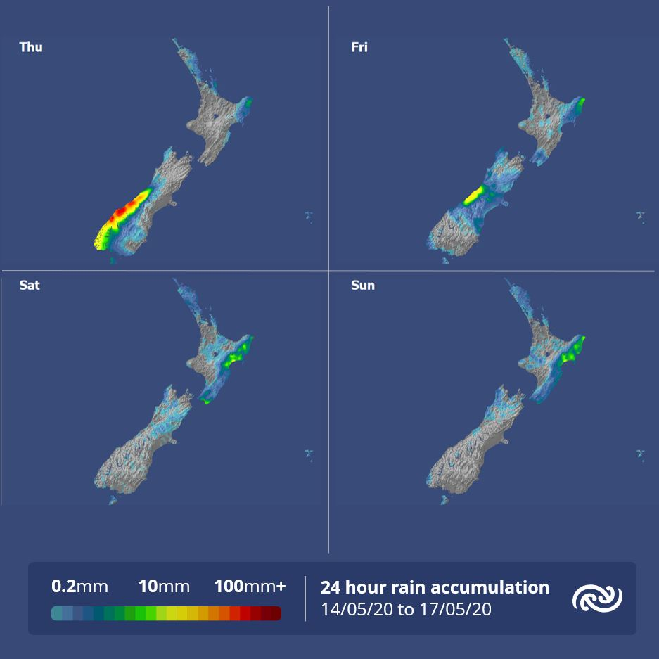 A slow change in the rain distribution over NZ in the next few days with any significant rain unlikely after a front moves over the South Island tomorrow weakens on Friday. For more info on when will be the best day to head outdoors under Alert Level 2 metservice.com ^AC