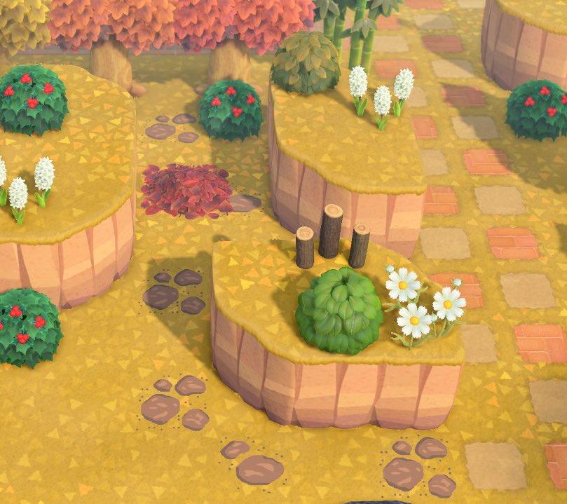 南半球で紅葉が始まり地面も紅葉してきたので茶色の飛び石を作りました🍂良かったら使ってやってください♪#あつ森#どうぶつの森#AnimalCrossing#ACNH#マイデザイン#とび石