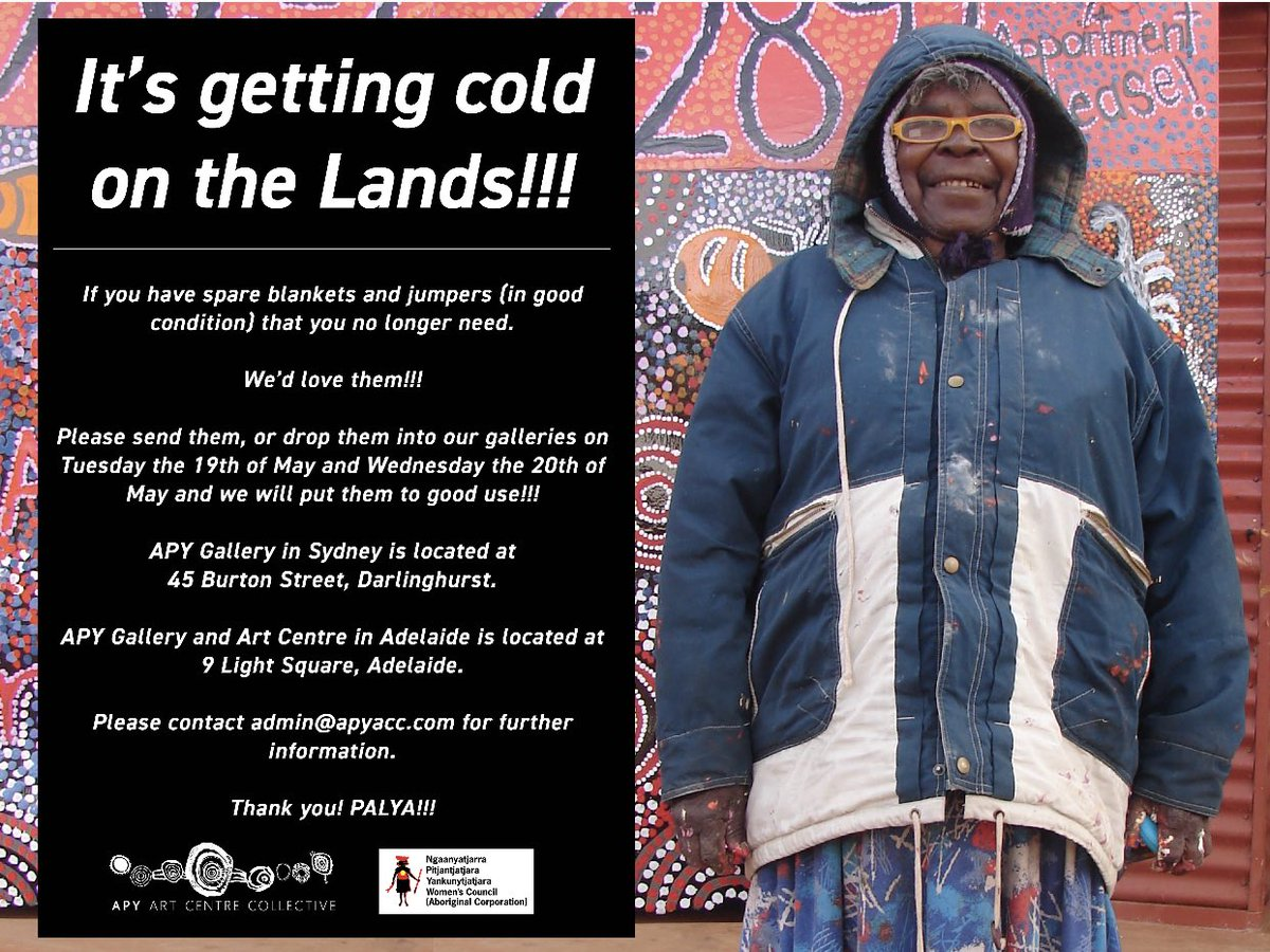 The APY Art Centre Collective is hosting a blanket and jumper drive. If you have warm jumpers and blankets you are no longer using. We'd love to put them to good use in APY communities this winter!! 🖤💛❤️
