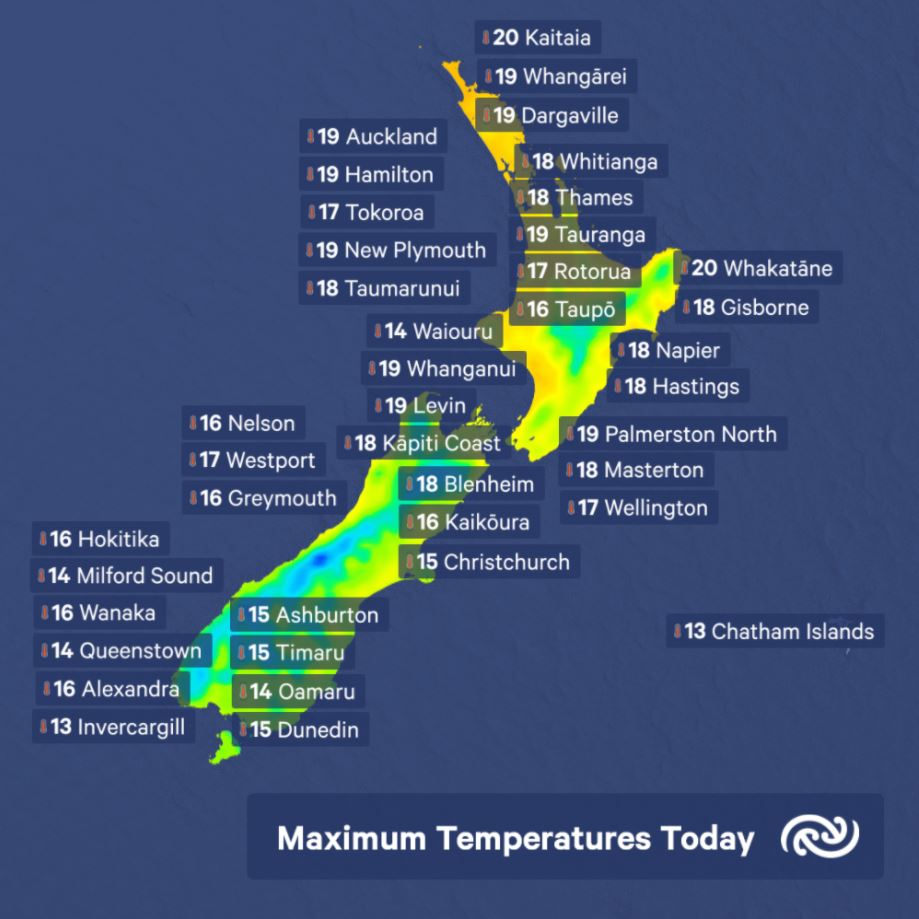 Some average May temperatures across NZ today. Scattered cloud in eastern regions acts as a sunhat during the day and a blanket during the night keeping the day to night temperature change less dramatic. For the latest temp forecasts for the week see metservice.com ^AC