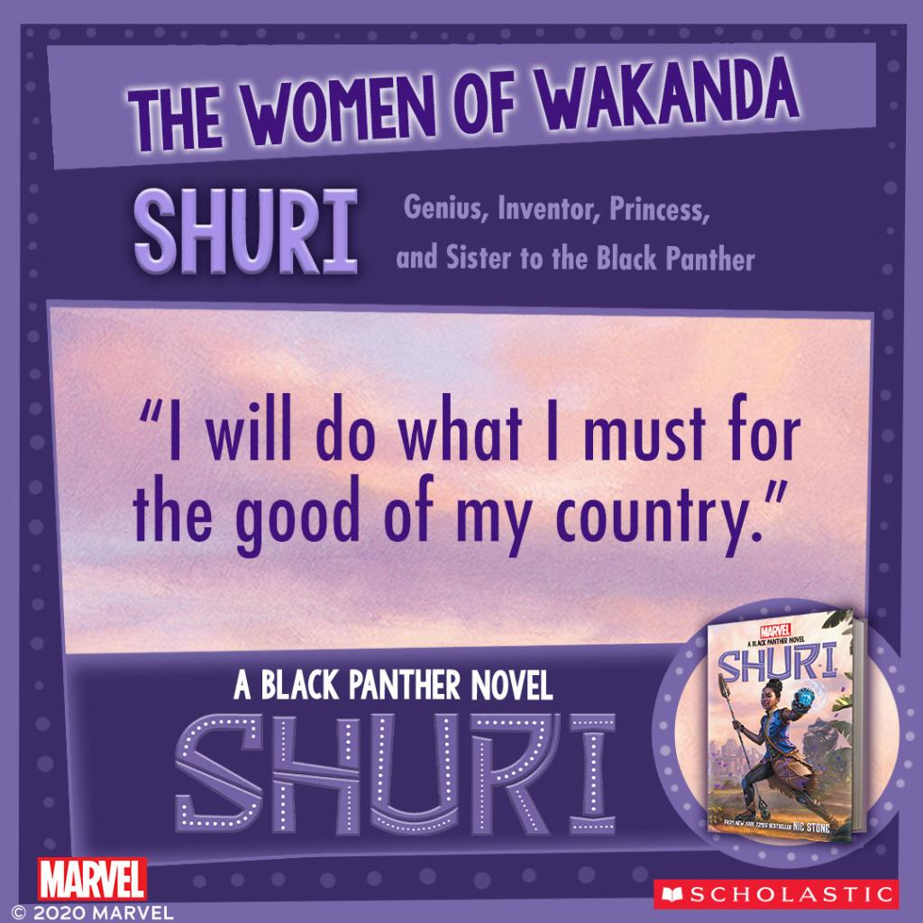 """Your favorite Wakandan princess, reporting for duty! Have you read the new original Black Panther story, """"Shuri,"""" from Nic Stone (@getnicced)? #WomenOfWakanda @Scholastic https://t.co/MbnAkG8xl0"""