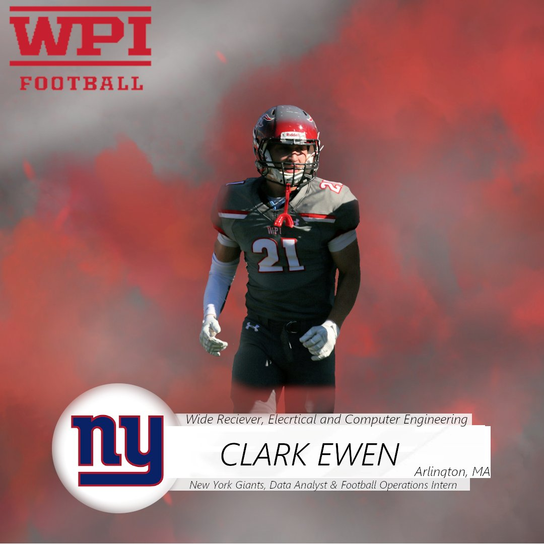 From ACL surgery after freshman year to starter, contributor, and the toughest WR in the NEWMAC, nothing this guy can't accomplish and no big deal, signed a deal with the NY @Giants as a data analyst, thank you Clark Ewen @WPIFootball #SeniorSalute<br>http://pic.twitter.com/RLTNQvEyue
