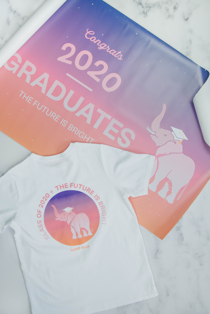 Our Graduation Bundles include one 24x48 Graduation Banner, one Ella Regular Fit Tee and a Mystery Sticker Pack for just $65 🐘 Free shipping on all bundles! ✨ ivoryella.com/pages/herdof20…