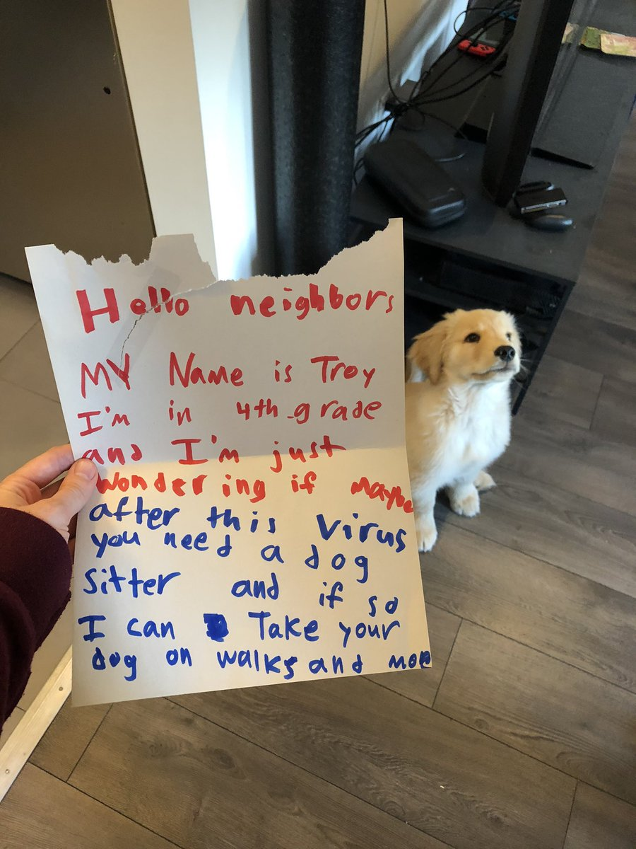 This is Arthur. He received a letter today from his 10-year-old neighbor, Troy. I'm told he is incredibly flattered and hopes to schedule a play date soon. 14/10 for both