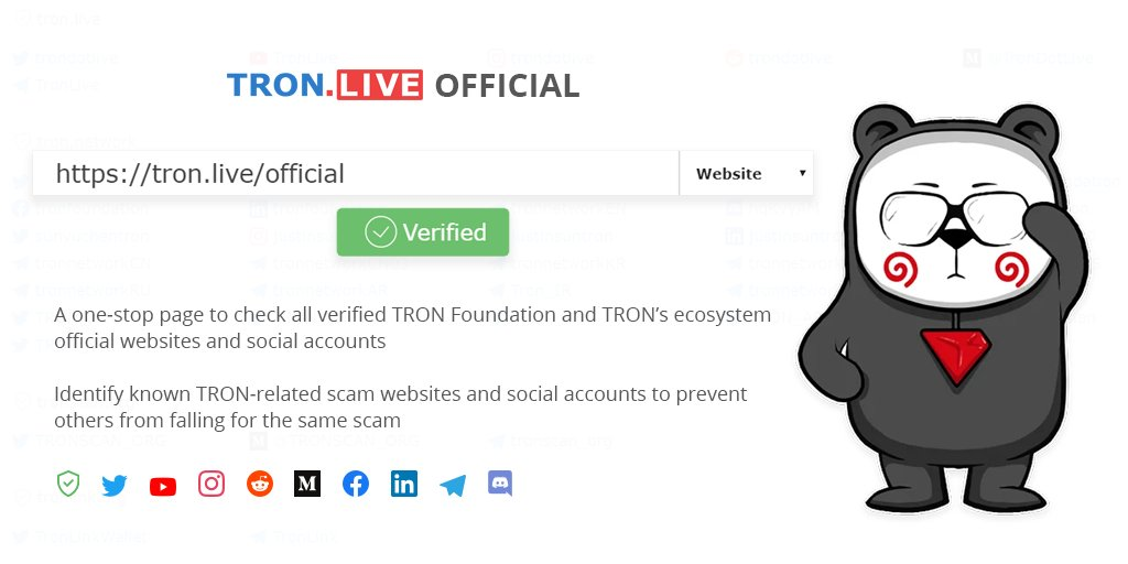 Welcome to search and check all the official sites & social accounts of @Tronfoundation & major #TRON ecosystem projects at https://t.co/kTfHGWGw0Z and stay away from fake accounts👇