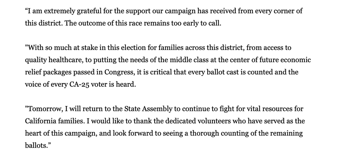 Christy's statement on tonight's partial results. #CA25