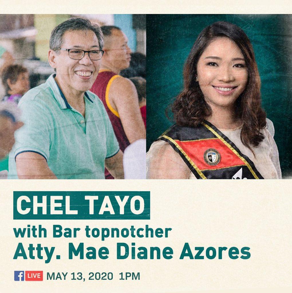 Live ngayon ang Chel Tayo! kasama si Atty. Mae Diane Azores, the 2020 Bar topnotcher! fb.com/cheldiokno/live