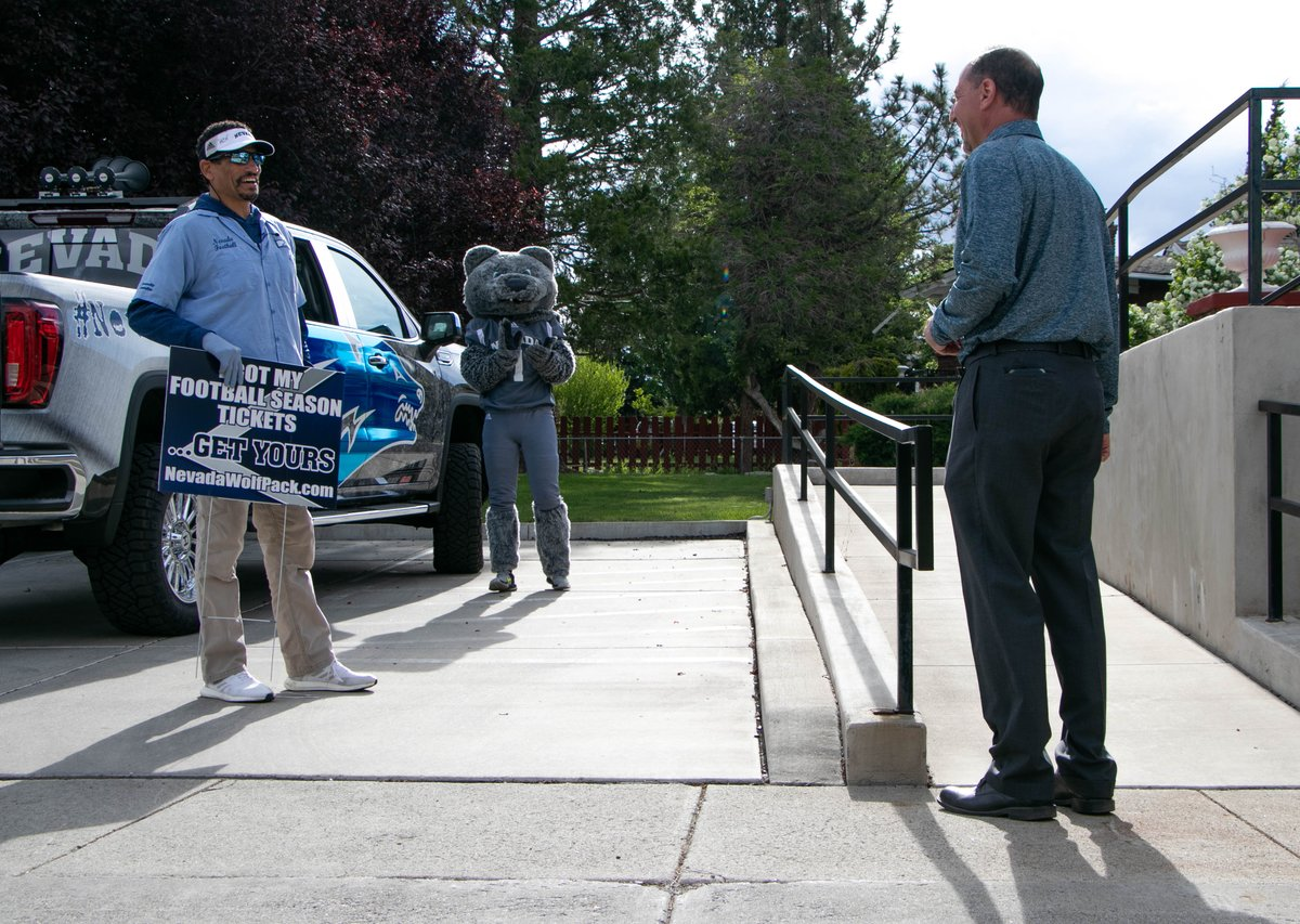 We miss and appreciate you all so much, we couldnt go another day without letting you know! @CoachJayNorvell drove The Beast around Reno and surprised season-ticket holders who have renewed their tickets for 2020 with a socially distant hello! #BattleBorn // #NevadaGrit