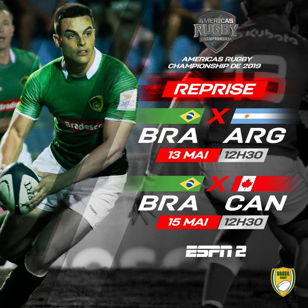 Essa semana teremos duas reprises de jogos do Brasil Rugby na @espnbrasil. Ambos os jogos são do @AmericasRCh 2019. Quarta é dia de Brasil e @lospumas . Sexta é dia de Tupis contra o Canadá. As reprises acontecem, às 12h30, na ESPN 2 e no Watch ESPN. #BrasilRugby #Rugby #Brasil
