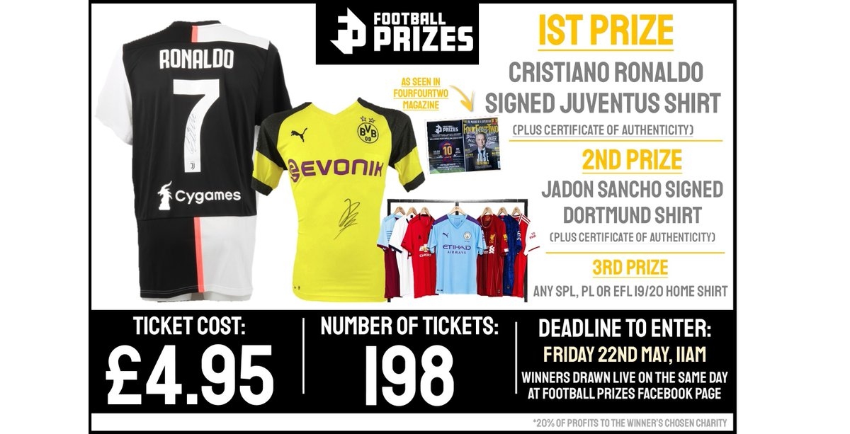 This week's prizes involve a HUGE competition!  🥇Signed @Cristiano Juventus Shirt 🥈Signed @Sanchooo10 Dortmund Shirt 🥉Any PL or EFL 19/20 shirt  Enter for just £4.95 at https://t.co/FYTRHN84g9!   Winners drawn Friday 22nd May!  #Sancho #Ronaldo #Dortmund #CR9 #Competition https://t.co/Z8qEea9trZ