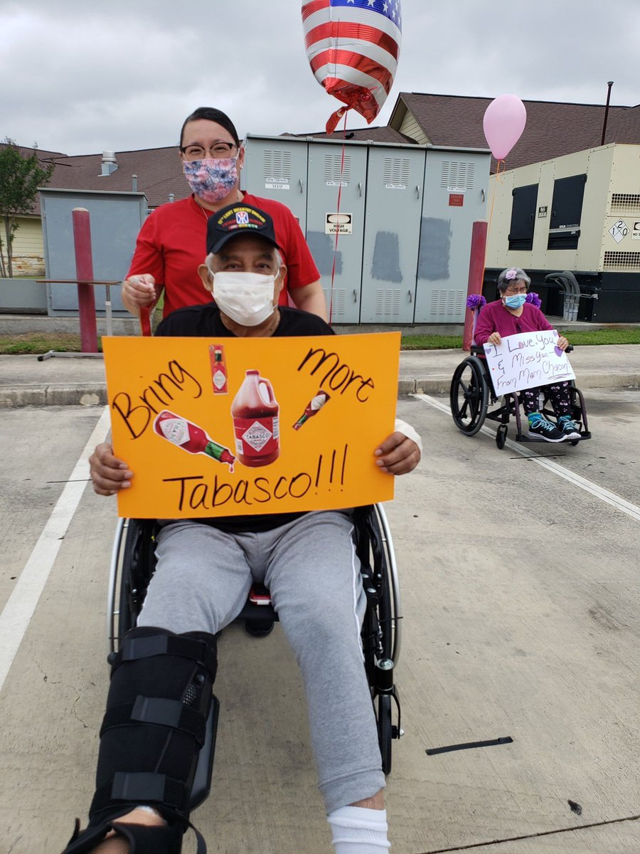"""#HotSauce makes you strong, like bull!  We love this story!  @Tabasco sent him something 😎😎  @fishlvn"""" @TABASCO So my dad is at skilled nursing facility getting rehab after his foot surgery, and today they are having a parade for the facility. This is his parade sign 😂 😂 😂 https://t.co/pGjHn94fQf"""