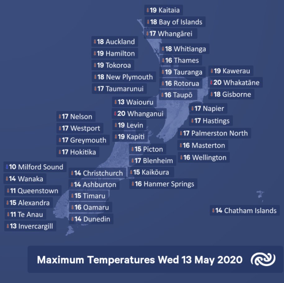 Here's the maximum temperatures across Aotearoa NZ for Wednesday the 13th of May. ^Gerry