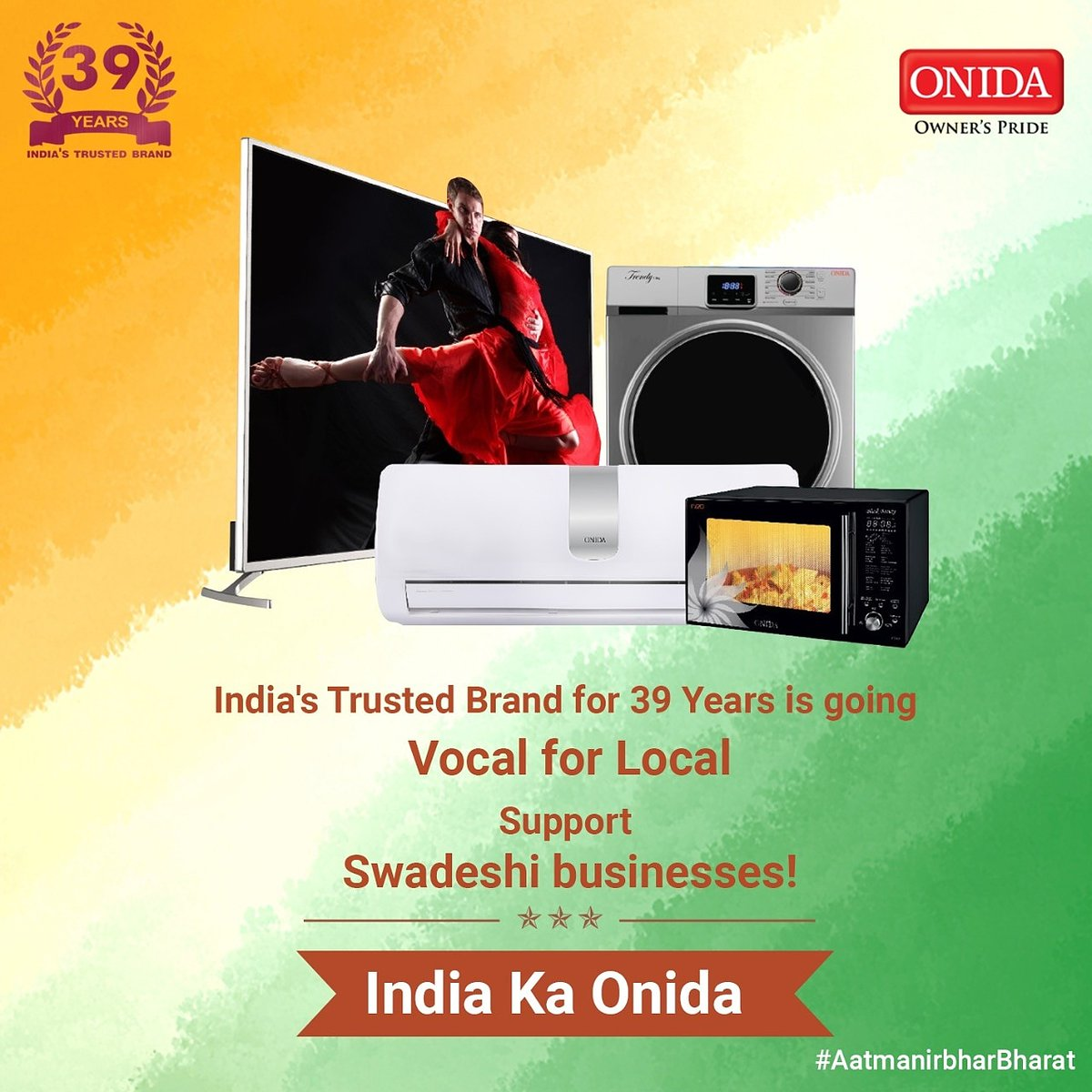 India's trusted brand with 39 years of Innovation is going #VocalForLocal  #AatmanirbharBharat #Onida https://t.co/4fQiyrqGPn https://t.co/JZsADsnv5a