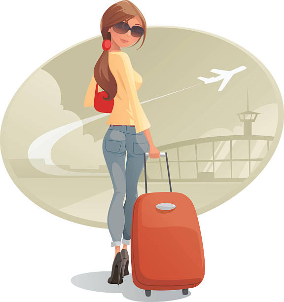 woman leaving with luggage - HD1200×1330
