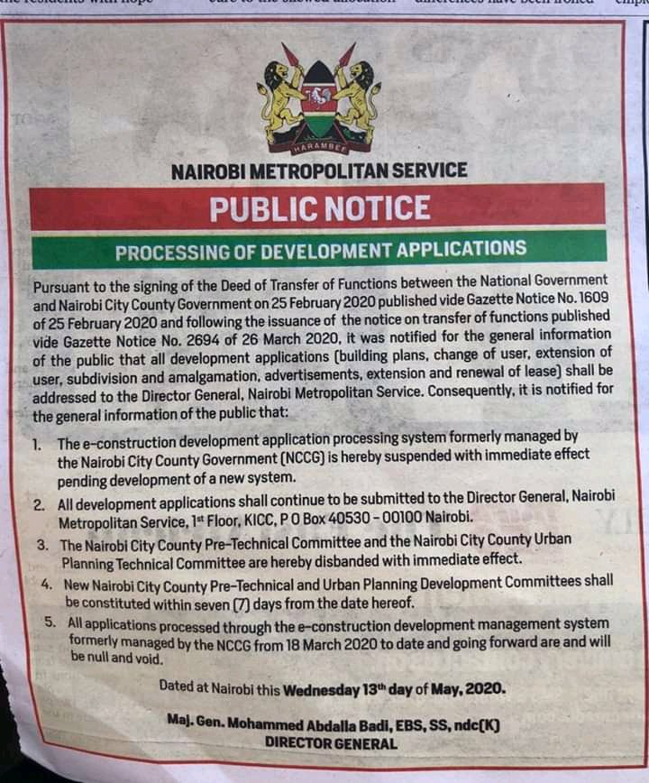 📌PUBLIC NOTICE:PROCESSING OF DEVELOPMENT APPLICATIONS  @NMS_Kenya has,with Immediate effect,suspended The e-construction development application processing system formerly managed by the Nairobi County Government pending development of a new system. Read more ⤵️ https://t.co/Zau8oGzU2s