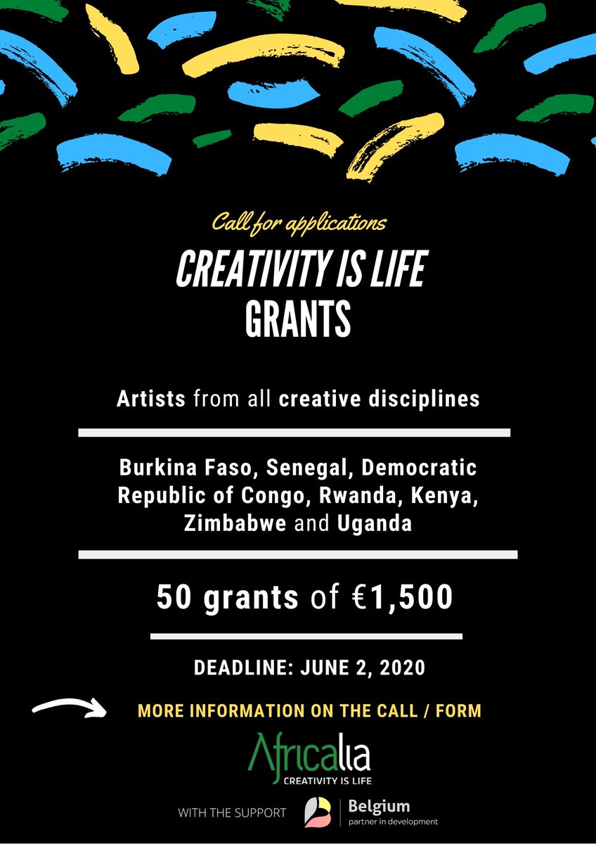 """Africalia is launching the CALL FOR APPLICATIONS """"CREATIVITY IS LIFE"""" to support artists from the African continent!  DEADLINE: JUNE 2, 2020  MORE INFO ⤵️ https://t.co/YIoHxjAEuc  #creativityislife  #togetheragainstcorona #ShareCulture  #callforprojects #culture #Africa https://t.co/zEKf7F8hFX"""
