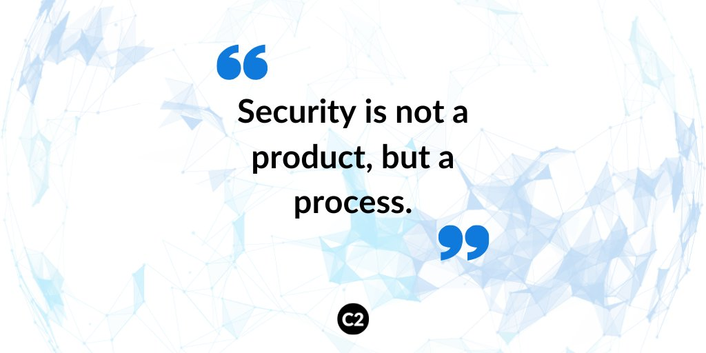 """""""Security is not a product, but a process.""""  #cybercorner #cybersafety #cyberattack #c2cyber #c2pic.twitter.com/h3F8VzS0YA"""