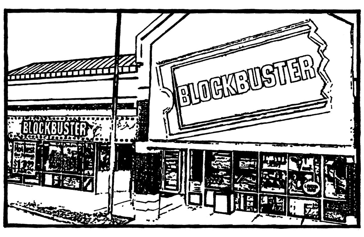 #ArchitectureMovieChallenge -- Day 13 -- Architecture Freebie! . Not movie specific, but definitely movie appropriate! . Wrapping up the Architecture Movie Challenge with a #Drawing of a #BlockbusterVideo franchise! pic.twitter.com/yv6Kwh6AU4