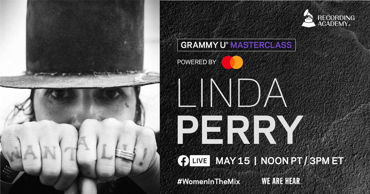 This FRIDAY 🗓️ Join @Mastercard and us for our #GRAMMYUMasterclass with GRAMMY-nominated @RealLindaPerry. She will be discussing the songwriting and production process of some of her biggest hits, giving you front row seats into her creative process. #WomenInTheMix