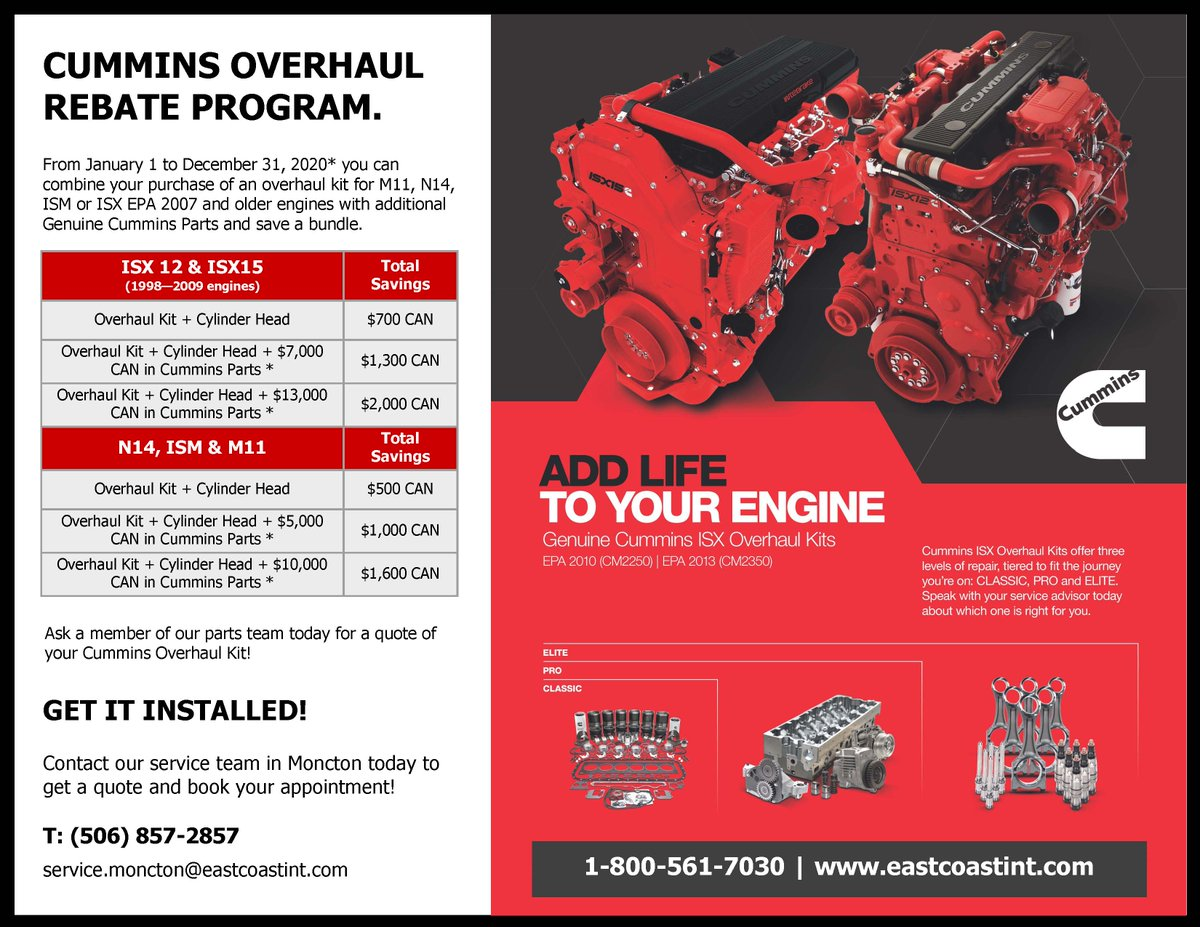 Add life to your #engine; take advantage of the #Cummins Overhaul Rebate Program! Contact a member of our parts and service team today for a quote. http://www.eastcoastint.com  1-800-561-7030 #CumminsOverhaul #RebateProgram #CallToday #GetAQuote #CumminsEngine #CumminsDealer pic.twitter.com/uuD4BSDsI4