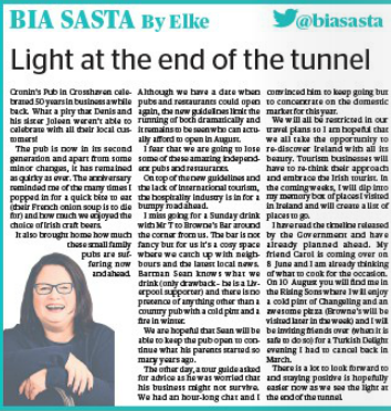 Light at the end of the tunnel! Read a great article by @biasasta! Read full story here⬇️ corkindependent.com/food/biasasta/…
