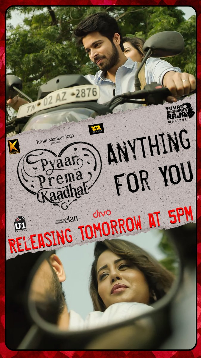 'Anything For You' - The next Deleted Scene from #PyaarPremaKaadhal Releasing Tomorrow at 5PM on @U1Records. Stay Tuned!  @iamharishkalyan @raizawilson @thisisysr @elann_t @YSRfilms @divomovies https://t.co/osvCl6unDN
