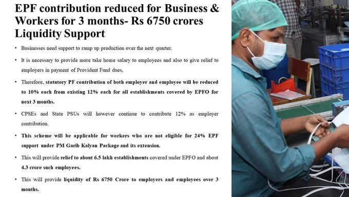 EPF Contribution to be reduced for Employers and Employees for 3 months