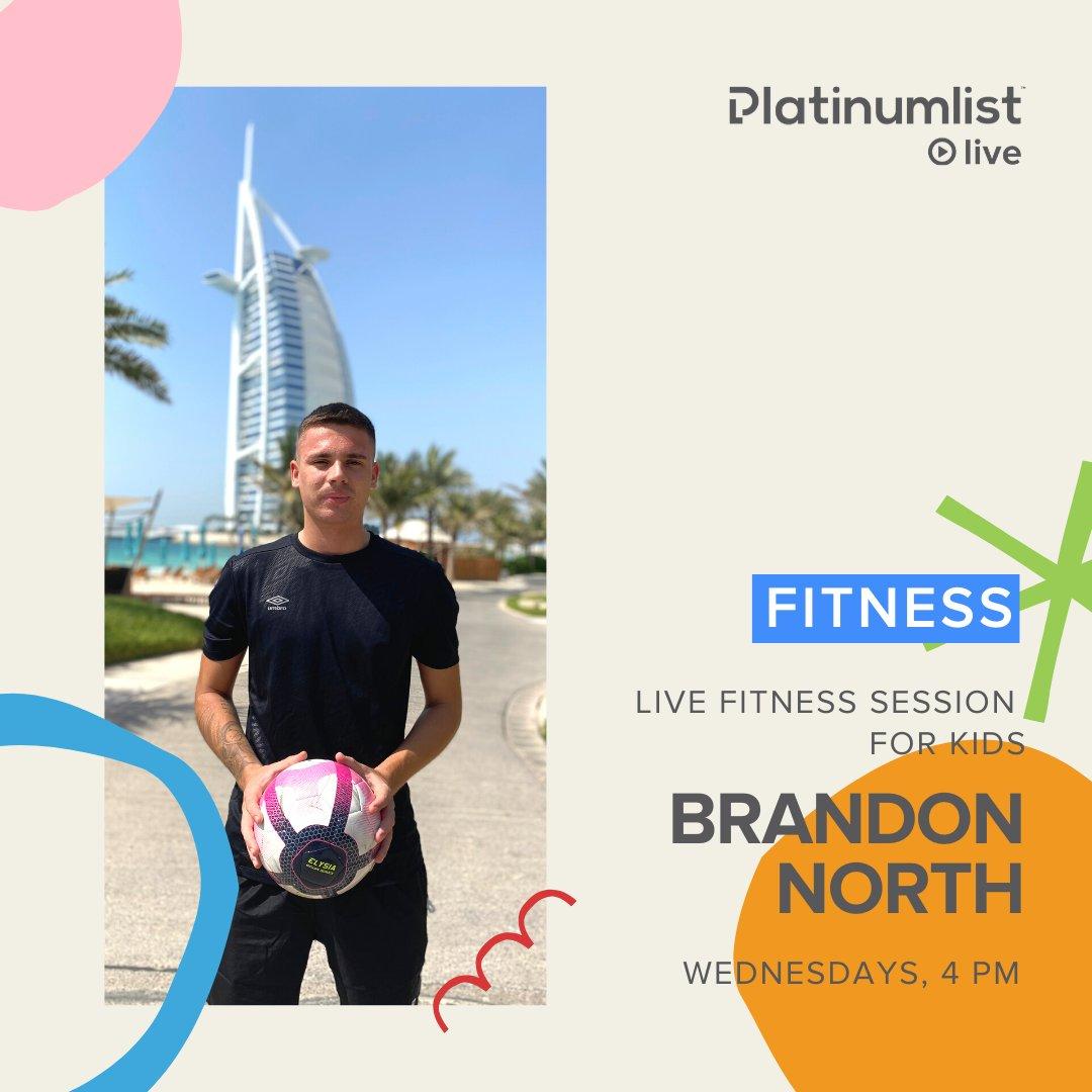 We're back with @coach_brandonnorth for Live Fitness Session for Kids, 4PM at #platinumlistlive! 💪