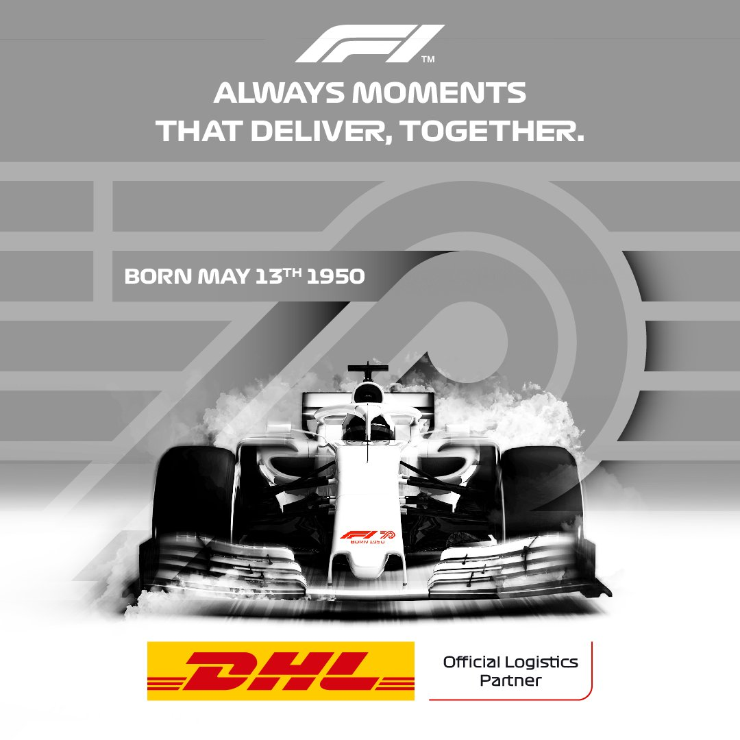 Time flies when you're having fun. Wishing @F1 a very happy birthday, 70 years on from the very first Formula 1 Grand Prix in Silverstone. Here's to the next 70! #F170 #DHLF1 #F1 https://t.co/VQtUMr0i37