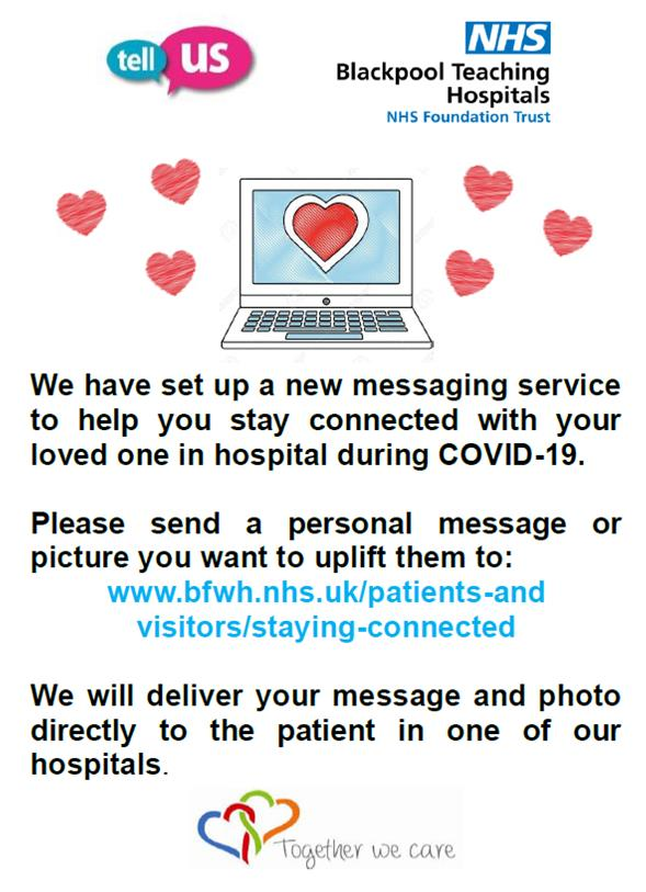 Over 230 personal messages have been delivered to patients @BlackpoolHosp @CliftonHospital from family and friends. If you want to send your relative a message or picture in one of our hospitals, please follow the details attached.
