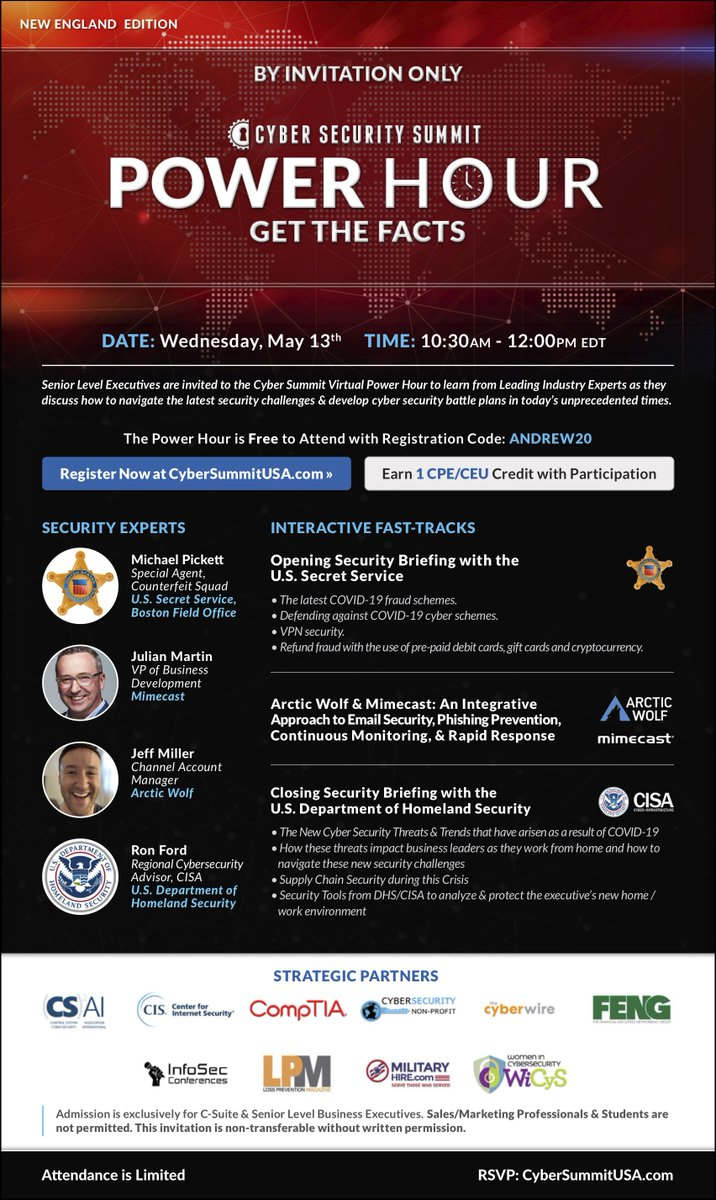 Today is the day! The @CyberSummitUSA Virtual Power Hour New England Edition with @AWNetworks, @Mimecast, @SecretService & @CISAgov begins at 10:30 am #CyberSecuritySummit #CyberAttacks   https://t.co/jonIXKPSIz https://t.co/Tdkif90W4V