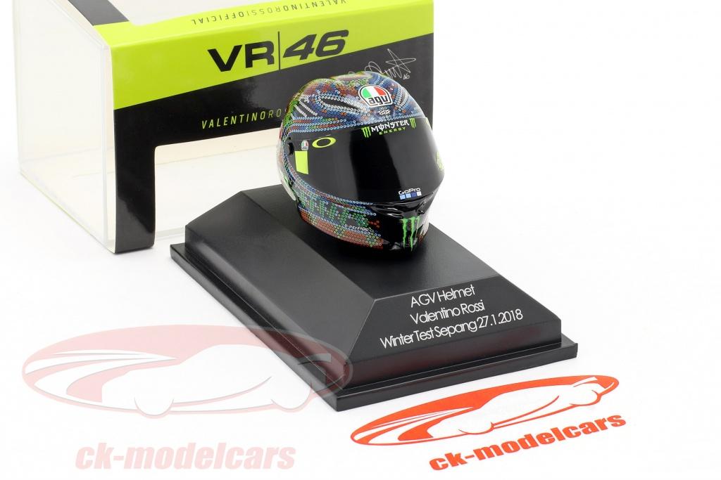 Valentino Rossi AGV Helm Helmet MotoGP Winter Test Sepang 2018 1:8 Minichamps
