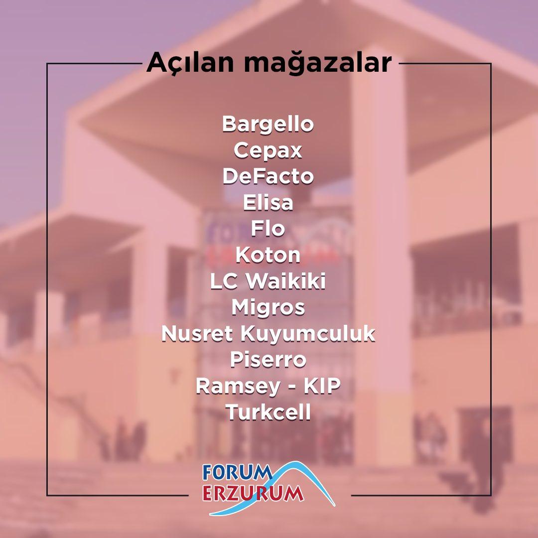 Yeniden hizmete başlayan mağazalarımız ile Forum Erzurum'da buluşuyoruz! Mağazalarımızın saatleri kendi özelinde değişkenlik gösterip, AVM içerisindeki gelişmelerimizi Instagram hesabımızdaki story paylaşımlarımızdan takip edebilirsiniz. 🙏🏻 https://t.co/qUjltUsUpq