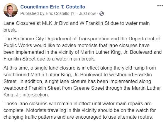 Lane Closures at MLK Jr Blvd and W Franklin St due to water main break.