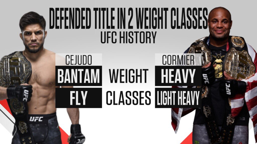 Only two men have ever won and defended belts in two weight classes. Just so happens both were on the Olympic wrestling team. Get your kids in that wrestling room! Good to be apart of history with @henry_cejudo @usawrestling Thanks @ESPN for the graphic https://t.co/J186RwWTYH