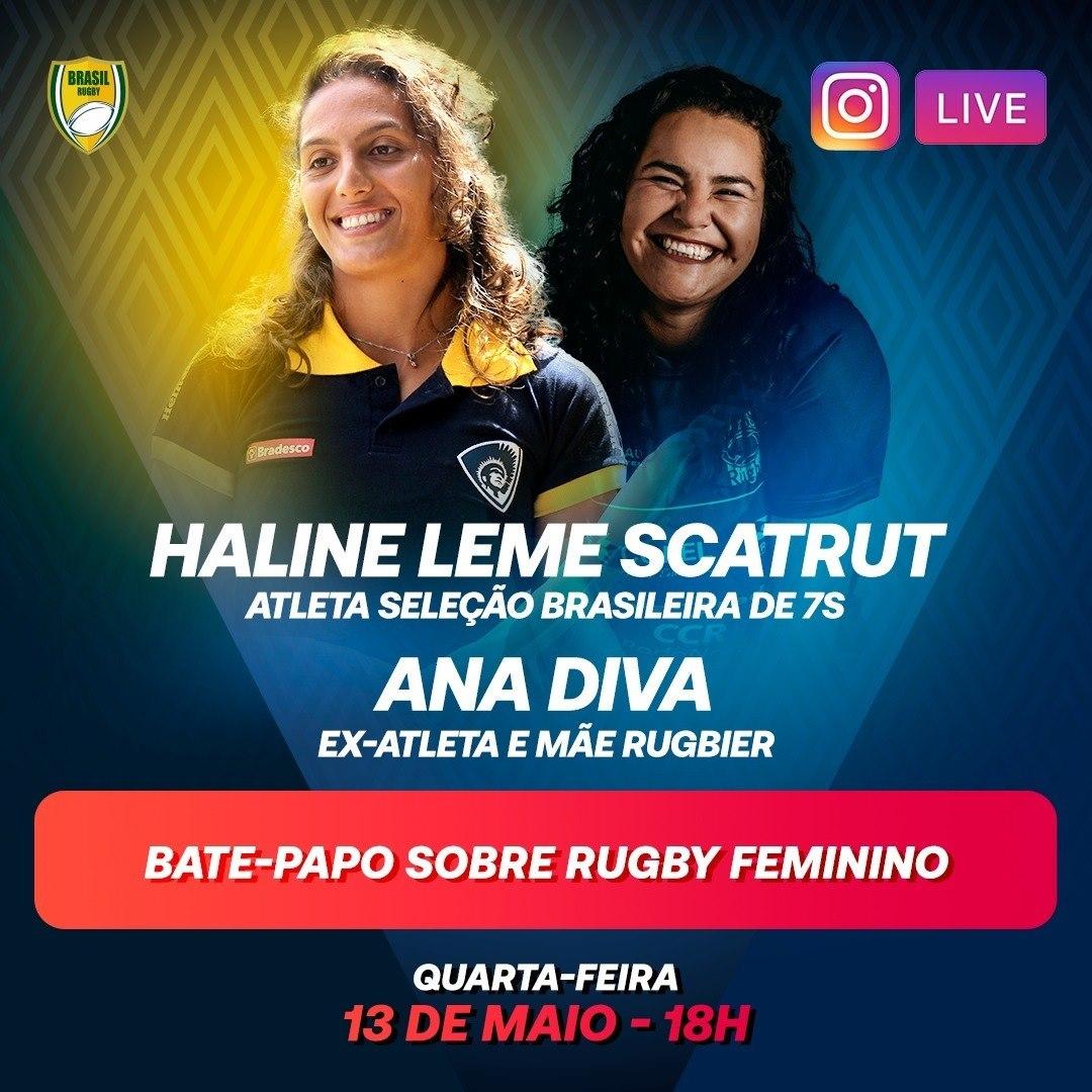 Anota na agenda: hoje, às 18h (horário de Brasília), tem bate-papo especial e ao vivo no Instagram Brasil Rugby! Haline Scatrut e Ana Diva vão conversar sobre rugby feminino e lembrar de algumas boas histórias! Vai ser imperdível! #BrasilRugby #Quarentena #FiqueEmCasa