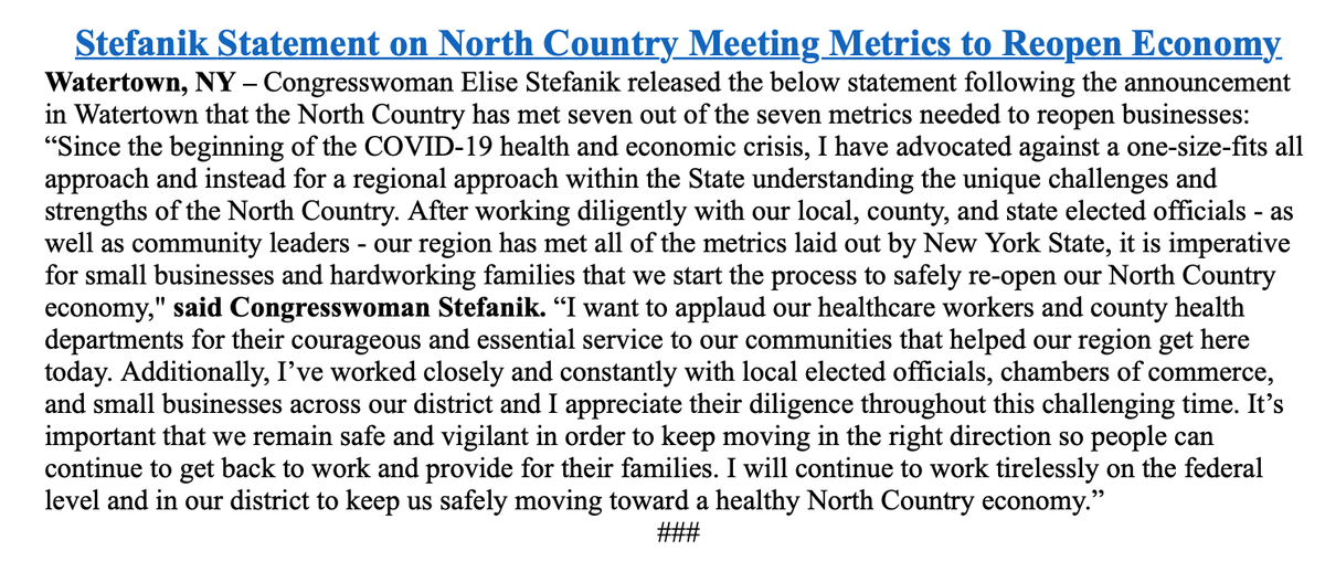 INBOX from @EliseStefanik on state's announcement that North Country has met reopening criteria: