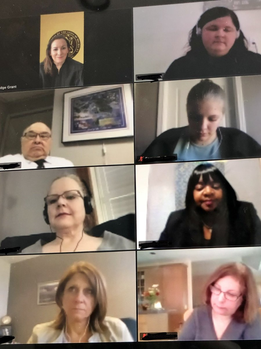 My heart is full this morning after holding zoom hearing with the Combat Vet TC team and ALL the vets.  Missed seeing these folks and this vital work.  All team members are crucial.  All vets doing great. @MISupremeCourt @BridgetMaryMc @mdocwayneh @MDOC https://t.co/IfFzhSvsqU