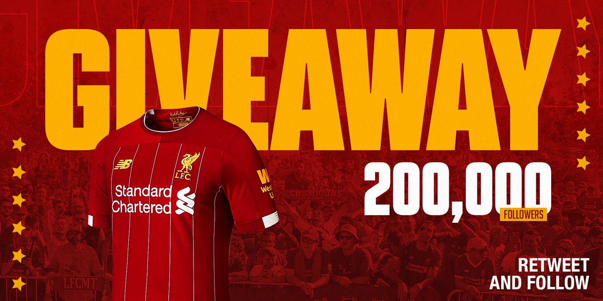 As a thank you for reaching 200,000 followers...  RT this tweet and follow us (@LFCUSA) for a chance to win a new 19/20 #LFC home kit shirt! 🙌 https://t.co/Kn4O4ZuQuG