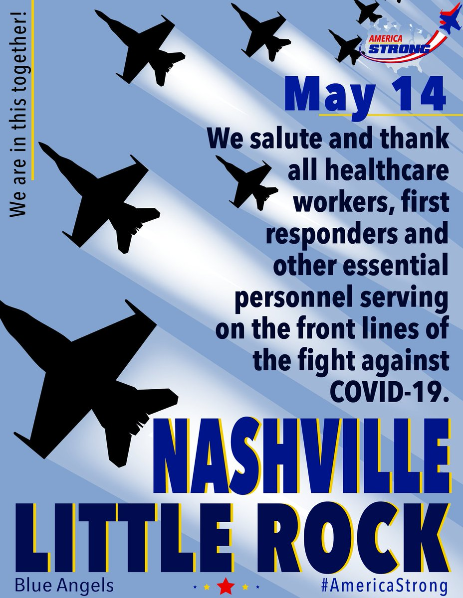 #Nashville and #LittleRock your Blue Angels are heading your way tomorrow! Check back later today for route information. Stay home and stay safe!  Nashville: 12 pm (CDT) ~ 17 min Little Rock: 1:45 pm (CDT) ~ 5 min  #AmericaStrong  #InThisTogether  #HealthcareHeroes https://t.co/tI4VHpfw64