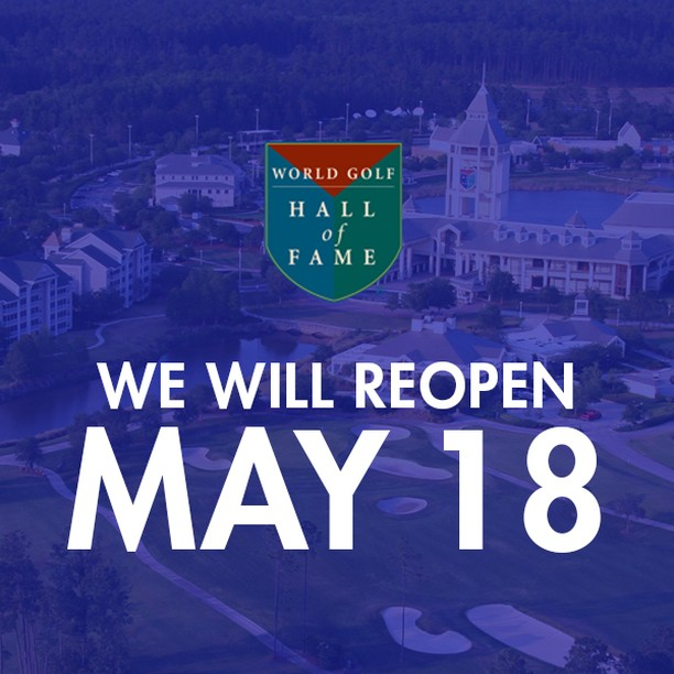 We are excited to announce that the World Golf Hall of Fame will reopen Monday, May 18!   The IMAX theater will continue to remain closed. We look forward to returning later this year and will continue to provide updates on our website: https://t.co/ePjv0aIUii https://t.co/h52dqDFUzL