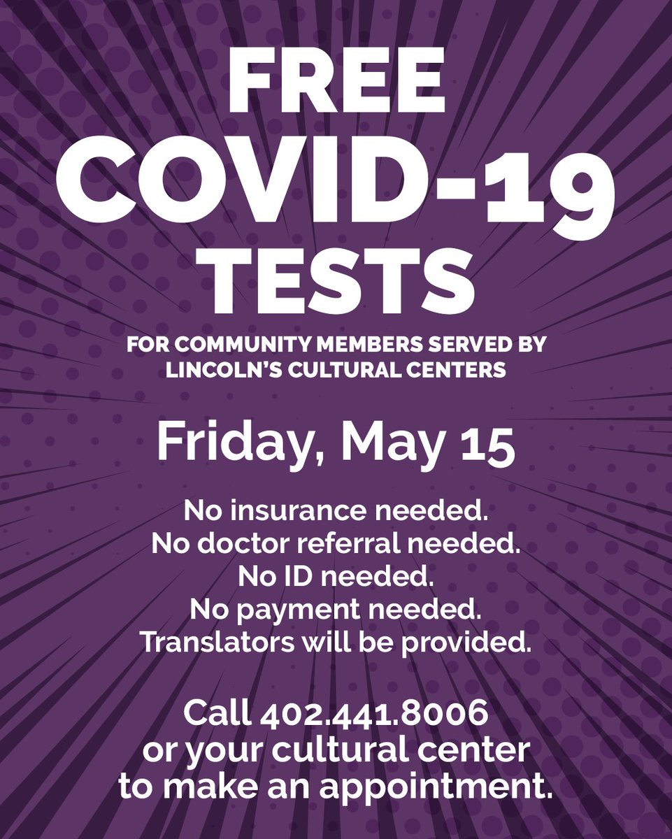 FREE #COVID19 testing for those served by cultural centers. Call your cultural center (Asian Comm. Cultural Center, Malone Center, El Centro, Good Neighbor, and Ponca Tribe of NE) or @LNKhealth at 402.441.8006 to make an appointment. Testing is Friday, May 15, so call ASAP!