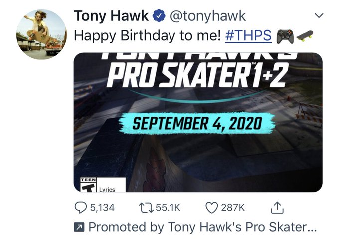 you didn t know it you were just wishing happy bday to tony hawk !