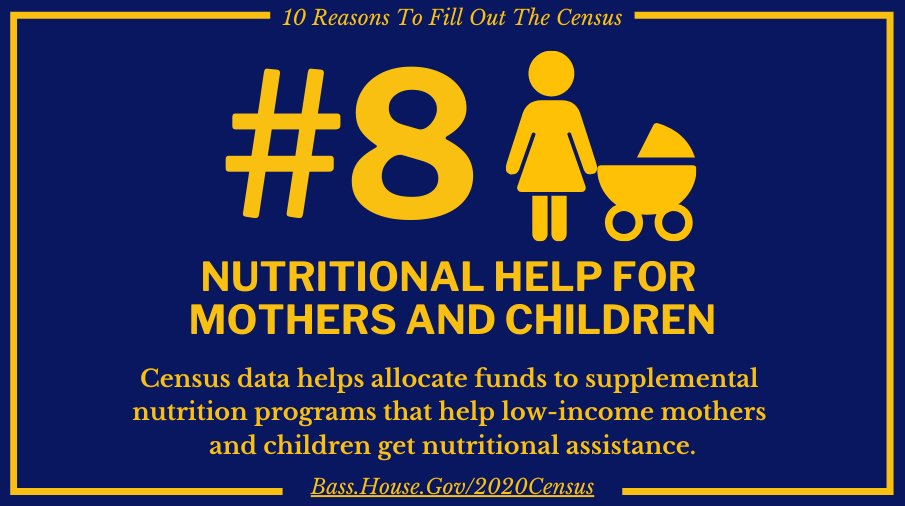 Why fill out the census? Nutritional assistance resources for mothers and children. bass.house.gov/2020census