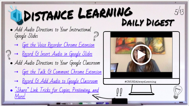The @CNUSDInnovatEDU Distance Learning Daily Digest is moving to a Wednesday Weekly Update! 🎙️🎙️Check out how to record audio for your Google Slides, and even post Audio to Google Classroom using some amazing free extensions! bit.ly/dailydistance