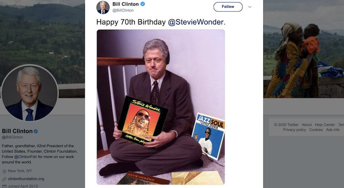 Bill Clinton uses viral meme of himself to wish Stevie Wonder a happy birthday