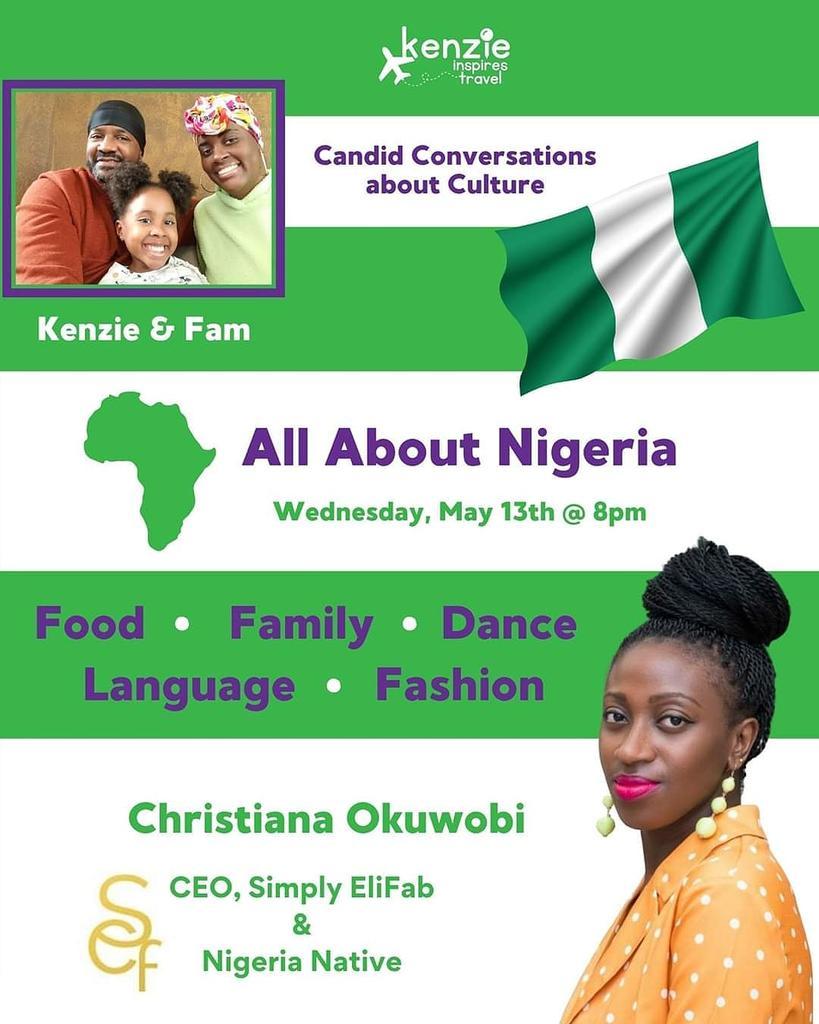 STARTING IN 30 MINUTES our discussion on Nigeria!  Join the K.I.T. Travel Tribe group on @Facebook to listen! https://www.facebook.com/groups/KITTravelTribe/…  #Nigeria #KenzieInspiresTravel #Familyatravel #TravelWithKids #WestAfrica #CultureConversations pic.twitter.com/WkWEqkEBFA