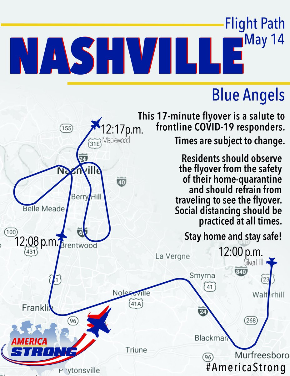 #Nashville and #LittleRock your Blue Angels are heading your way tomorrow! Stay home and stay safe!  Nashville: 12 pm (CDT) ~ 17 min Little Rock: 1:45 pm (CDT) ~ 5 min  #AmericaStrong  #InThisTogether  #HealthcareHeroes https://t.co/kMVft0nm2m